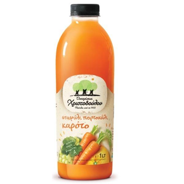 Χριστοδούλου Χυμός Σταφύλι, Πορτοκάλι & Καρότο 1λιτ